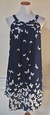 YO BABY Navy Blue White Butterfly Yoke Dress Sleeveless Cotton India M
