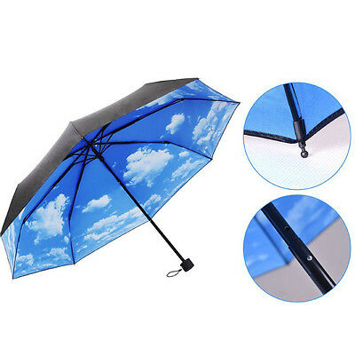 Anti UV Sun Protection Umbrella Sky 3 Folding Parasols Rain Umbrella Salable