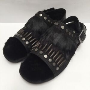 75d0abf97f4 Details about UGG BIKER CHIC BLACK STUDDED FEATHER FUR SLINGBACK SANDALS SZ  US WMNS 7.5