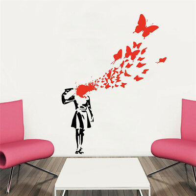 WALL Suicide Butterflies Wall Vinyl Decal Banksy Style