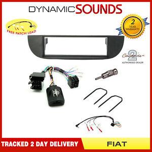 Black-Car-CD-Stereo-Fitting-Kit-Fascia-Stalk-Aerial-Adaptor-Keys-For-Fiat-500
