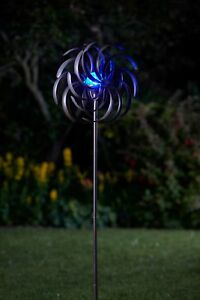 Solar-Windrad-farbwechsel-LED-Windspiel-Gartendeko-Gartenstecker-Metall-130-cm