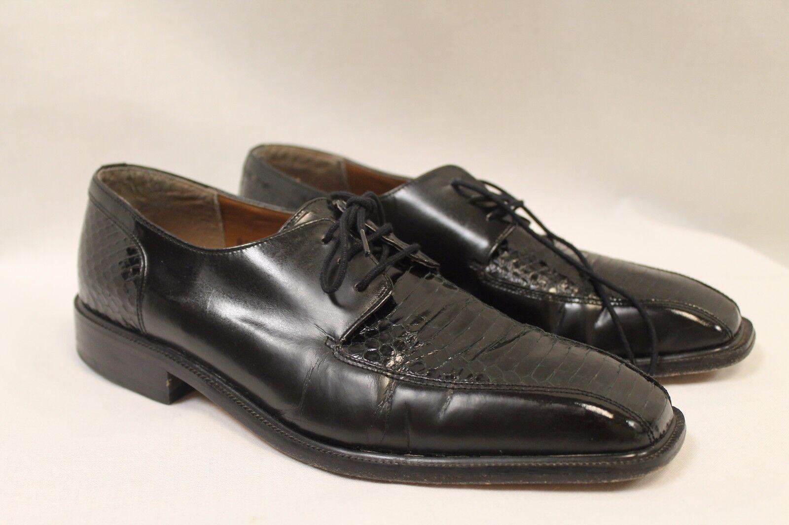 Giorgio Brutini Black Leather Genuine Snakeskin Men's shoes Size 9M