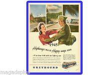 1945 Grey Hound Bus Ad Refrigerator Tool Box Magnet Gift Card Insert