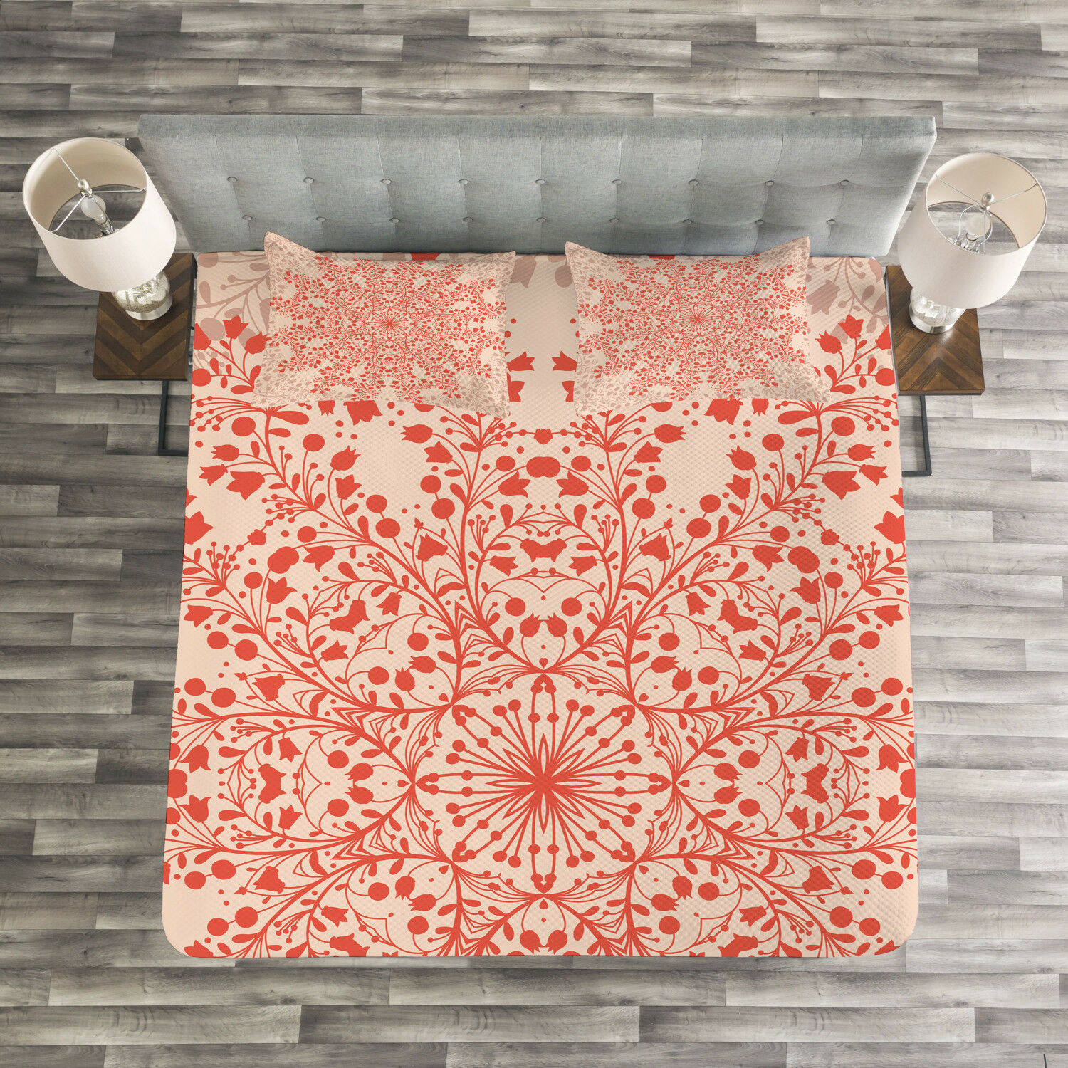 Red Mandala Quilted Bedspread & Pillow Shams Set, Rural Twigs Blooms Print
