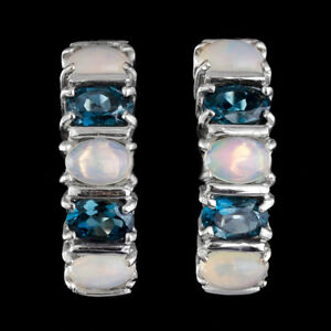 100-NATURAL-6X4MM-MULTI-WELO-OPAL-amp-LONDON-BLUE-TOPAZ-RARE-SILVER-925-EARRING