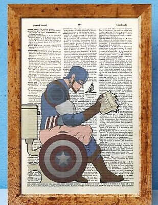 Captain America on toilet dictionary page art print vintage gift antique bookL30
