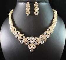 Floral Gold Austrian Rhinestone Crystal Necklace Earrings Set Bridal N1601gold