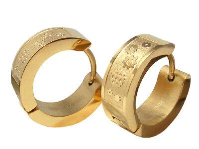 ZuverläSsig Herren Ohrringe Klapp- Creolen Edelstahl Ohrstecker Ohrhänger Gold 6mm Zahnrad Ein GefüHl Der Leichtigkeit Und Energie Erzeugen