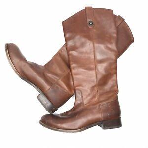 Frye-Melissa-Button-Cognac-Leather-Riding-Boots-Size-7-B-Women-s-77167