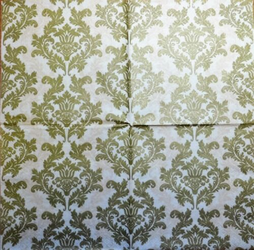 4 x Single Paper Napkins Gold Wallpaper Pattern Decoupage and Crafting Table 10