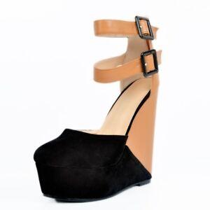 82e33173c Women Wedge High Heels Ankle Buckle Platform Color Block High Top ...