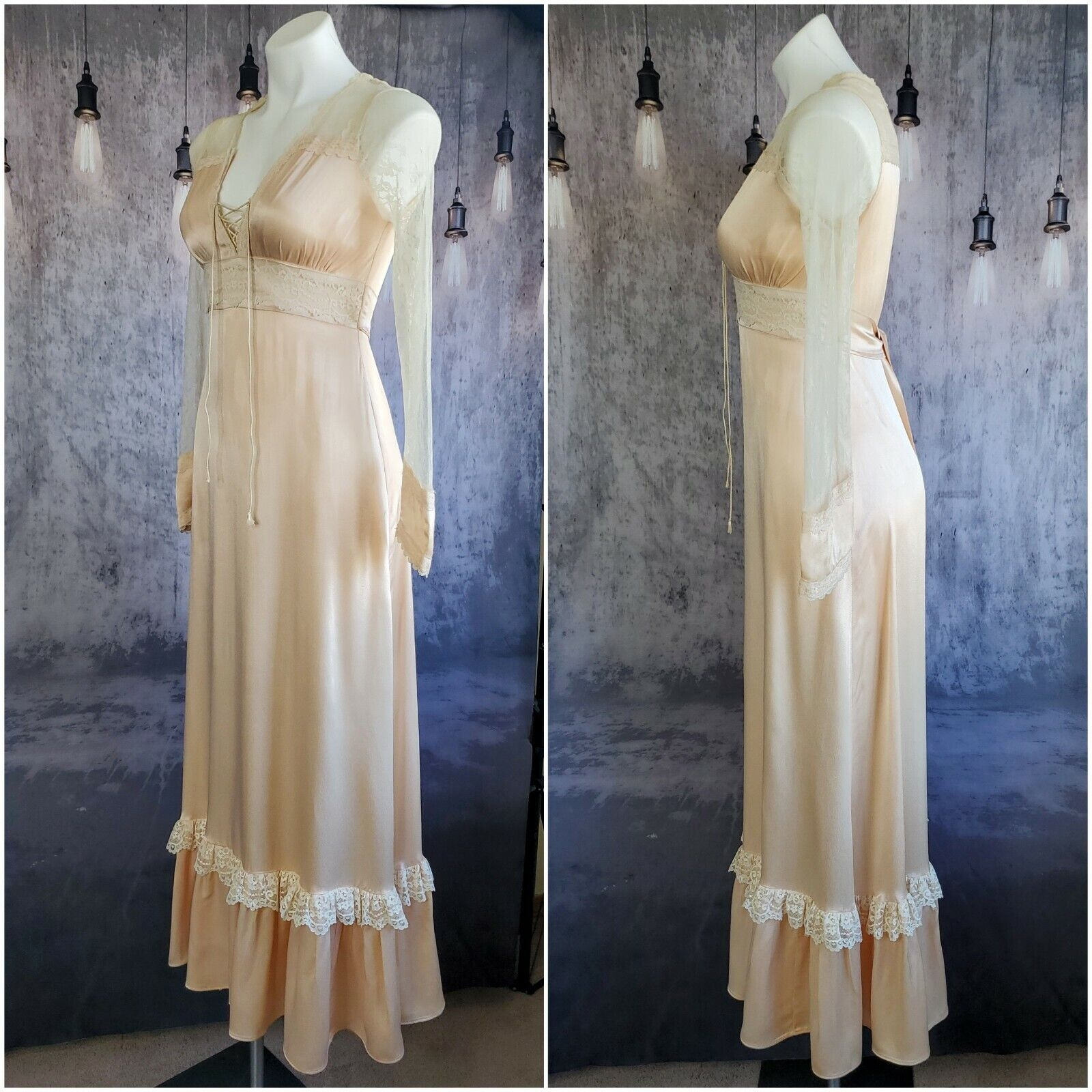 Gunne Sax satin beauty prairie 1970s dress - image 3