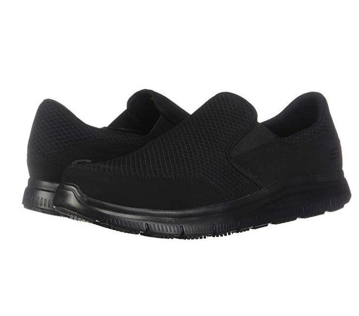 Skechers Work Men's Flex Advantage Slip Resistant McAllen Slip On shoes BLACK