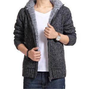 Men-039-s-Thick-Sweater-Collar-Zipper-Coat-Outerwear-Winter-Fleece-Fleece-Cashmere