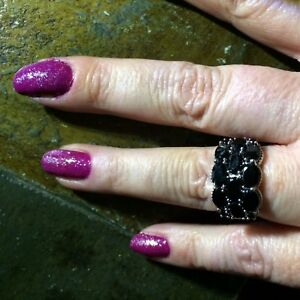 Size-6-6-27cts-Thai-Black-Spinel-Sterling-Silver-Ring