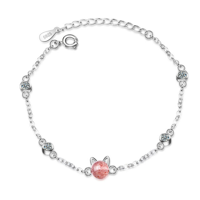 Elegant White Gold Plated Pink Strawberry Crystal Cat Ear Bracelet Bangle Chain