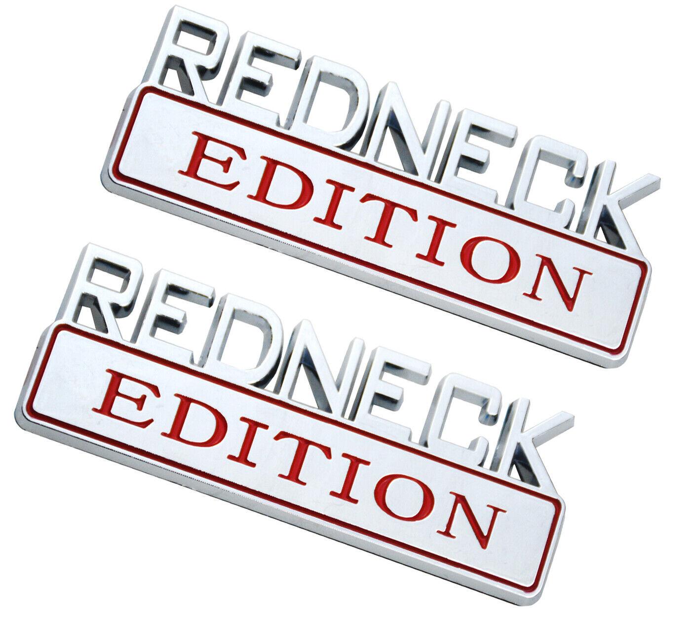 Small Size 2Pcs Black White RED NECK Redneck Edition Emblem Badge 3D Logo Compatible for Chevy Silverado 1500HD 2500HD