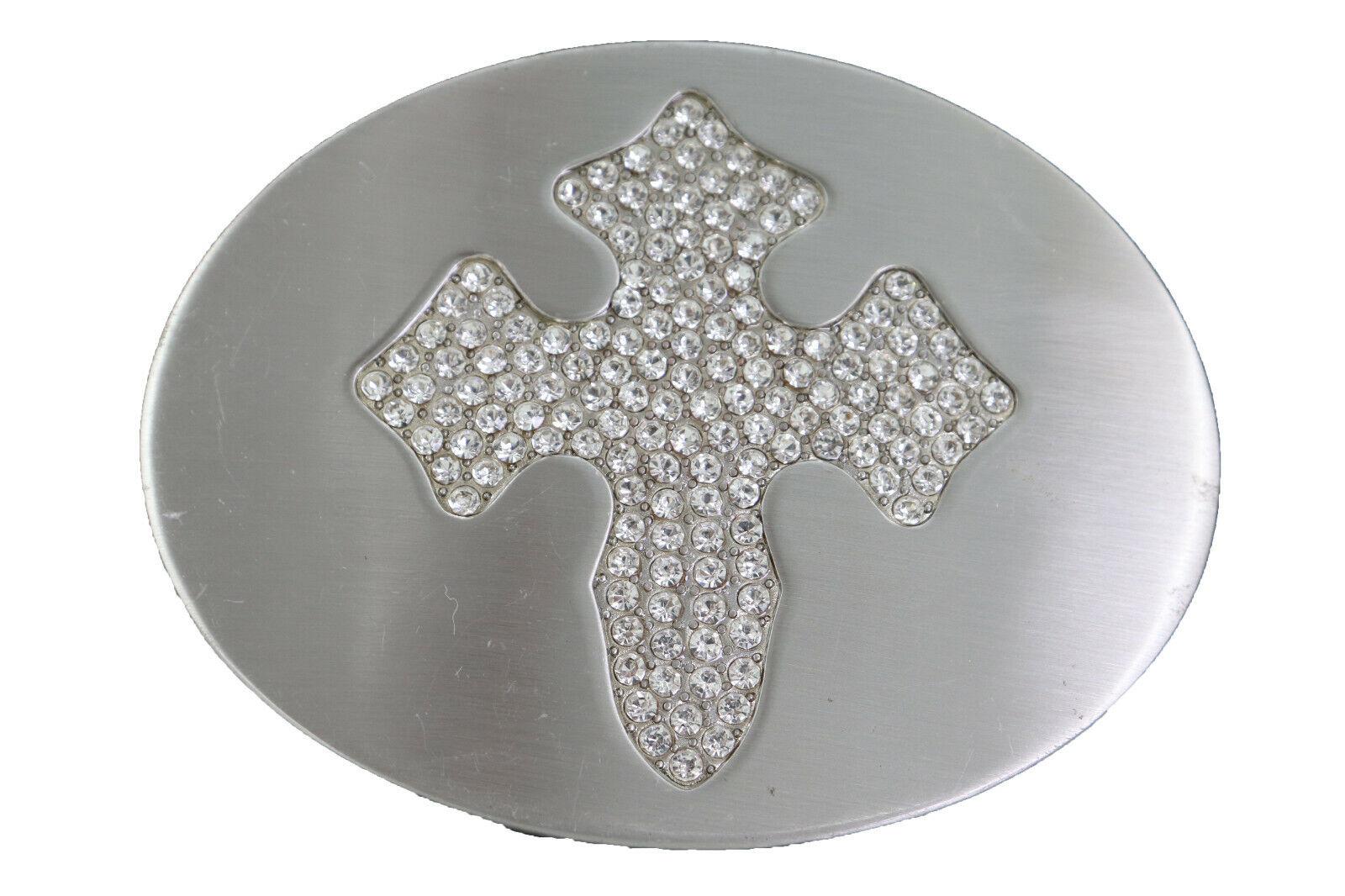 Herren Damen Cowboy Western Gürtelschnalle Silber Metall Groß Oval Kreuz Special