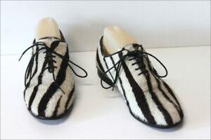 FREE-LANCE-Derby-a-Lacets-Vintage-Fourrure-Rase-Bicolore-et-Cuir-T-39-BE