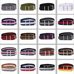 14mm-16mm-18mm-20mm-22mm-24mm-Solid-Stripe-nato-Wrist-Nylon-Watch-Strap-Band