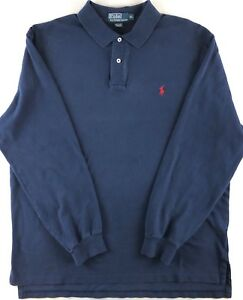 Polo-Ralph-Lauren-Rugby-Shirt-Men-039-s-Size-XL-Navy-Blue-Button-L-S-Collar