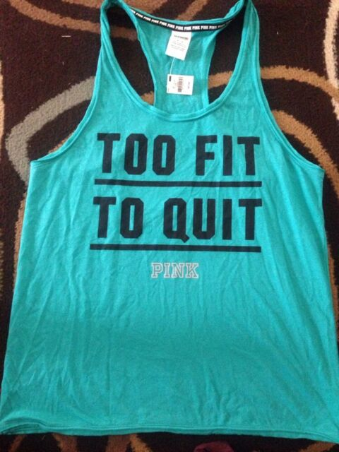 b7496edf5ce3c Victorias Secret Pink Too Fit To Quit Racerback Tank Top Tee Shirt L Teal  Nwt