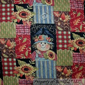 BonEful-Fabric-FQ-Cotton-Quilt-Red-Orange-Calico-Thanksgiving-Flower-Leaf-Block