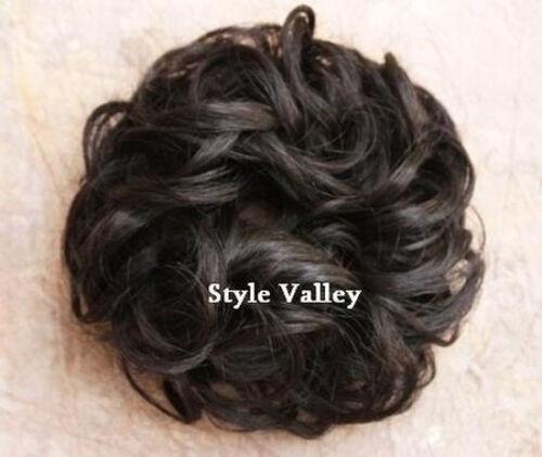 Victorian Accessories- Fan, Gloves, Purse, Belt, Spats, Wig   Dark Brown SCRUNCHIE Hair Extension Curly Updo Bun Hairpiece Ponytail #4 $9.97 AT vintagedancer.com