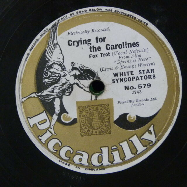 78rpm WHITE STAR SYNCOPATORS crying for the carolines / springtime in th rockies