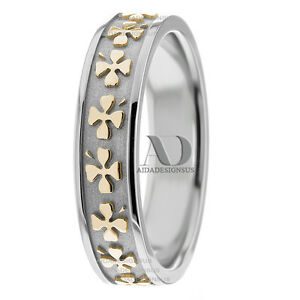 5.5mm 10K Gold Two Tone Clover Pattern Women\'s Celtic Wedding Band ...