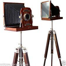 Big Vintage Retro Nautical Camera Reproduction Home Replica Wooden Tripod Office