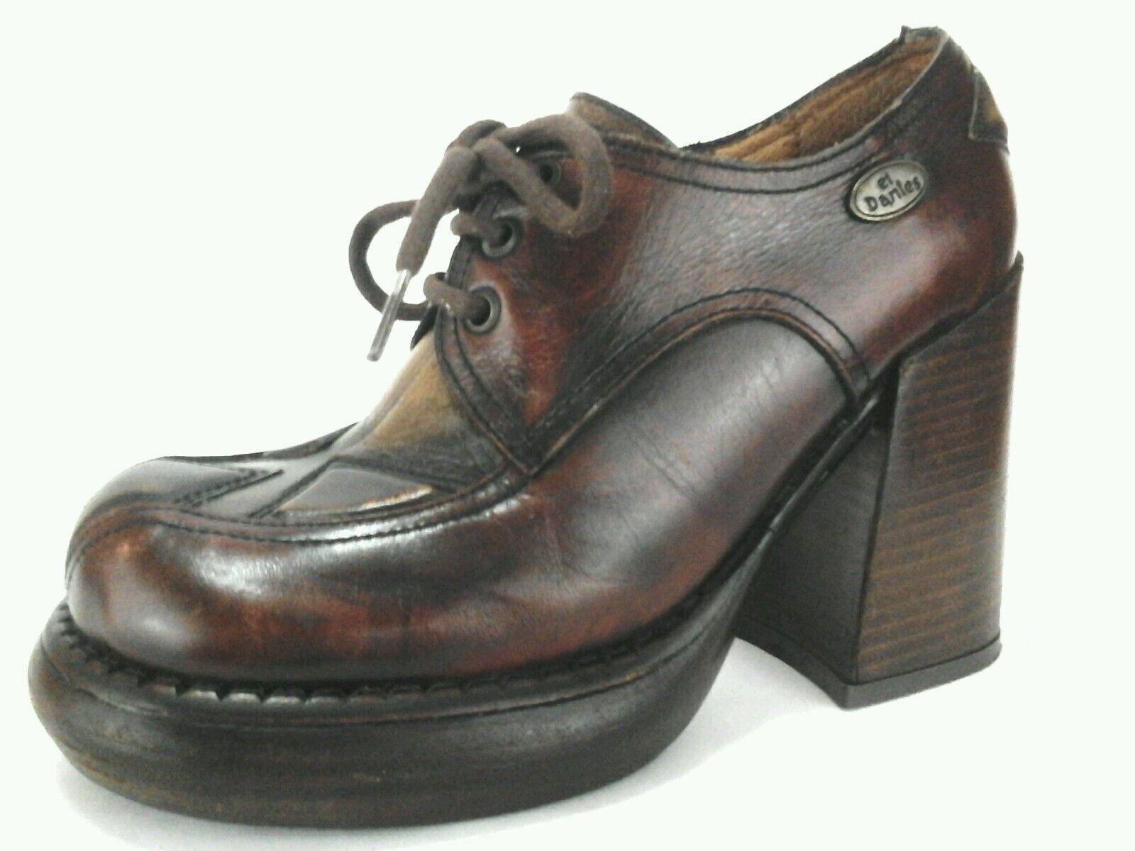 EL DANTES platform shoes boots brown leather oxfords size 36/37 US 7 M RARE