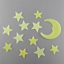 Stars & Moon Glow in the Dark Luminous Fluorescent Home Wall Stickers, UK Seller