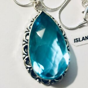 Drop Shaped Turquoise Handmade Silver Necklace