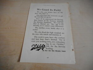 1904 MAGAZINE AD #A4-091 - SCHLITZ BEER - WE GUARD ITS PURITY