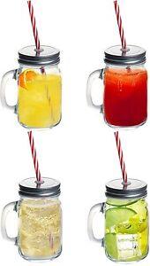 4 X Claro Cristal Tarros mason Mermelada Tarro cóctel verano de beber Mango & Paja 450ML