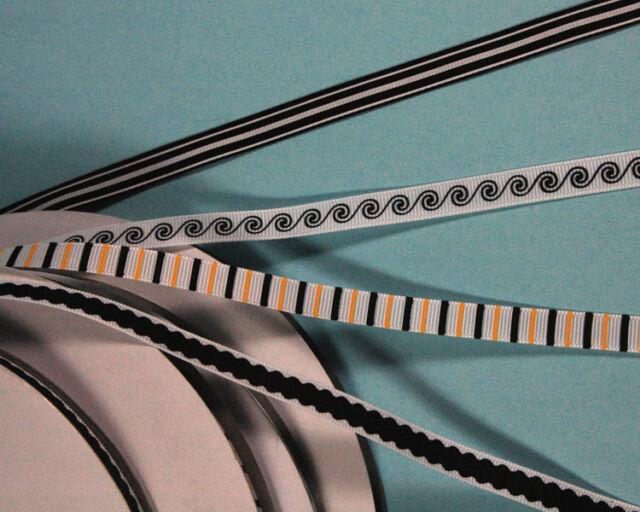"3-yd 3/8"" inch PRINTED GROSGRAIN Ribbon black white waves plum stripes striped"
