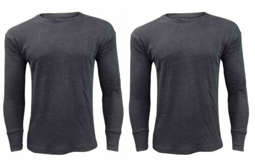 2 X MENS THERMAL UNDERWEAR LONG SLEEVE VEST TOP SHIRT BRUSHED TOPS ALL SIZES UK