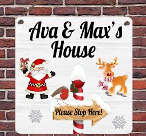 Personalised Christmas Metal Children Santa Plaque Sign Wall Xmas Gift Present