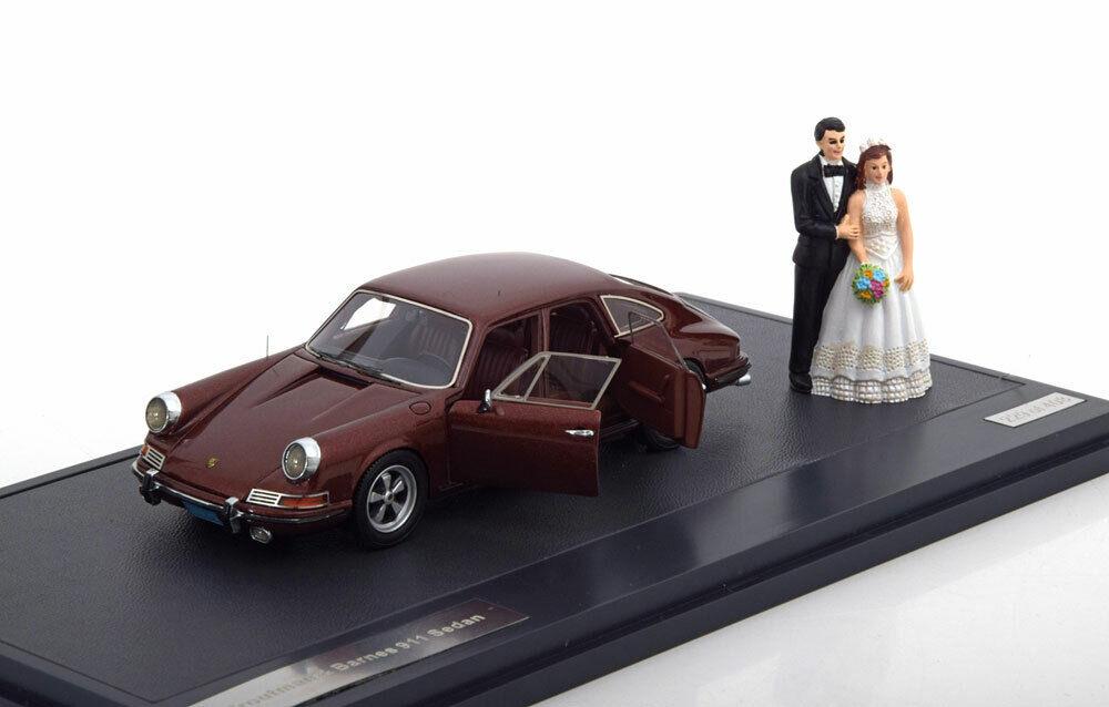 PORSCHE 911 SEDAN 1972 TROUTMAN & BARNES WEDDING VERSION DARK rouge METAL MATRIX M