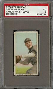 Rare-1909-11-T206-Orval-Overall-Hands-Waist-Level-Polar-Bear-Chicago-PSA-3-VG