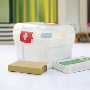 White-2-Layers-Health-Pill-Medicine-Chest-First-Aid-H3J9-Storage-Box-Case-Z1M5