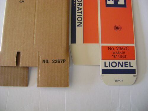 Lionel 2367 Wabash AB  Engine Licensed Reproduction Boxes