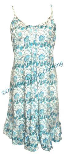 Vestido de verano Goubi Con Tiras de mujer-Blanco//Azul Floral