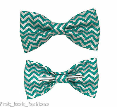 New Metallic Teal Chevron Clip On Cotton Bow Tie ~ Choose Men or Boys Size
