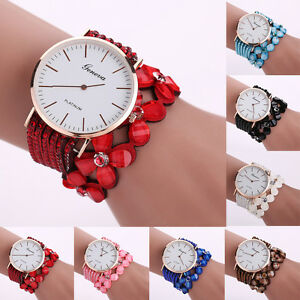 Women-039-s-Leather-Bracelet-Stainless-Steel-Flower-Crystal-Dial-Quartz-Wrist-Watch