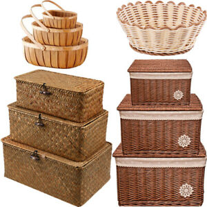 Bathroom Storage Wicker Basket Trunk