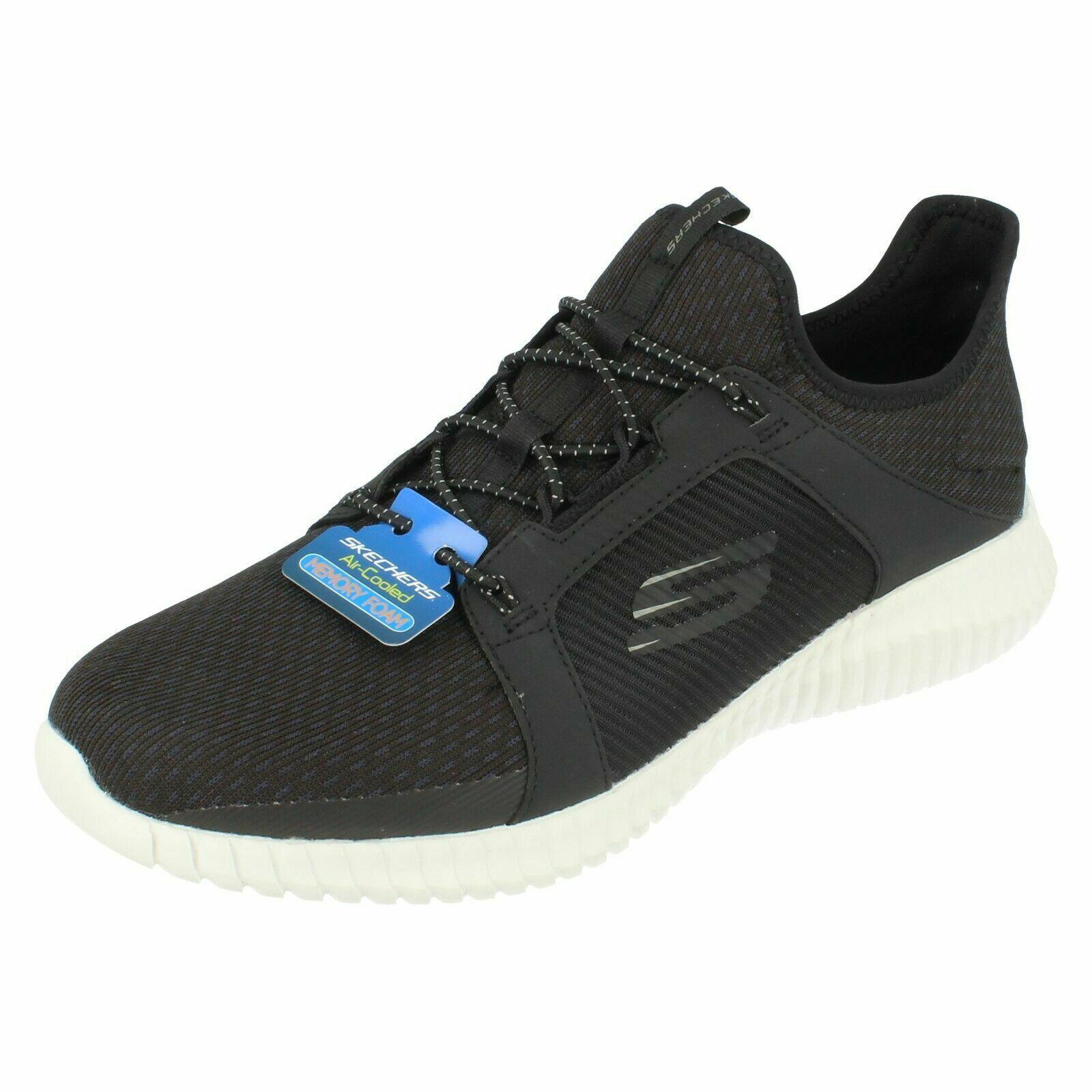 Hombre Skechers Elite Flex - 52640 Negro con Cordones   Zapatillas blancoas