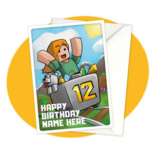 Alex-Minecart-PERSONALISED-BIRTHDAY-CARD-Minecraft-themed-gamer-personalized